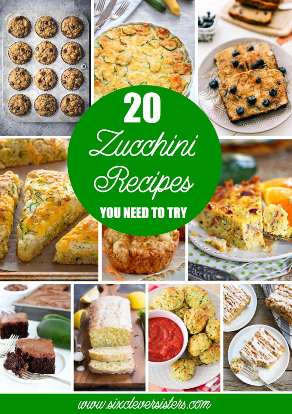 Zucchini Recipes | Zucchini Recipes Easy | Zucchini Recipes Bread | Zucchini Recipes Healthy | Zucchini Recipes Casserole | Recipes With Zucchini | The Best Recipes With Zucchini | Looking for a way to use up all that zucchini so it's not wasted? These amazing zucchini recipes will have you finding more ways to use that zucchini than you thought possible! Enjoy good breads, muffins, casseroles, and more . . . all using zucchini! #zucchini #zucchinirecipes #recipeswithzucchini #sixcleversisters