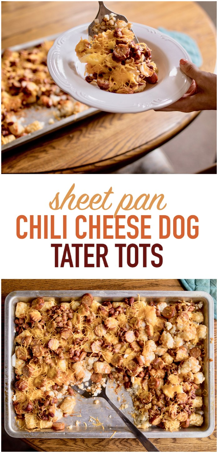 Chili Cheese Dog Tater Tots | Sheet Pan Dinner | Sheet Pan Meals | Dinner Recipes Easy | Dinner Ideas | Chili Cheese Dog Bake | Tater Tot Casserole | Tater Tot Recipes | Six Clever Sisters