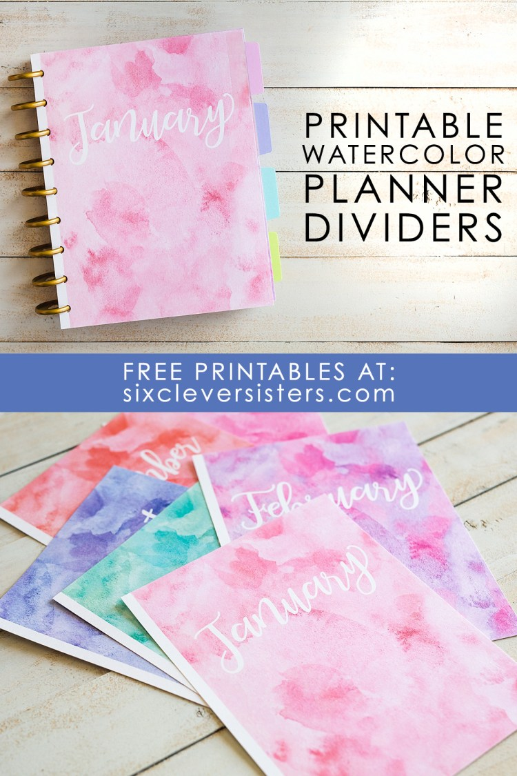 Printable planner dividers | free printable monthly planner dividers | Planner dividers printable free | Planner dividers DIY | Planner dividers free | Month dividers for planner | Printable monthly dividers | Free printable monthly planner dividers on the Six Clever Sisters blog!