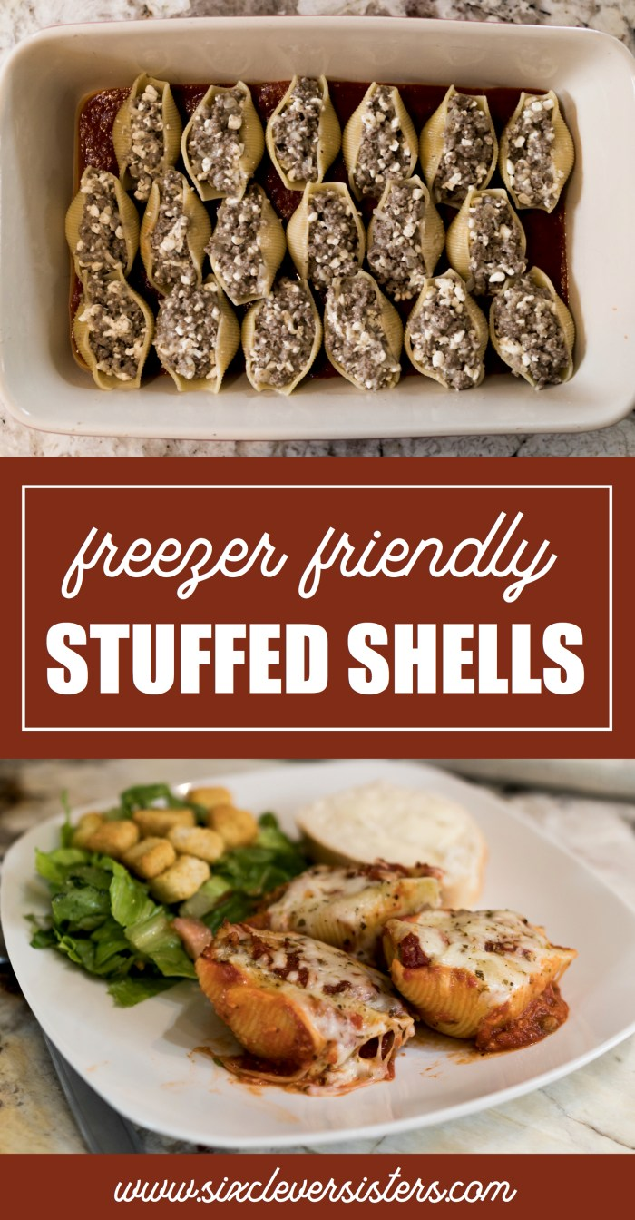 Stuffed Shells Recipes | Stuffed Shells Tasty | Stuffed Shells With Meat Sauce | Stuffed Shells Recipe | Stuffed Shells and Cheese | Easy Stuffed Shells With Meat | Best Easy Stuffed Shells | Stuffed Shells Beef | Stuffed Shells Easy | Freezer Meals | Freezer Meals Make Ahead | Looking for an easy weeknight dinner that is fast to make and a great recipe to freeze? This easy dinner recipe is one of our favorites! #recipes #recipesoftheday #recipesfordinner #freezer #dinner #dinnerrecipes #dinnerideas #pasta #pastafoodrecipes #easymeals #sixcleversisters