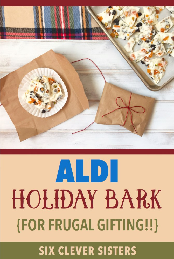 Aldi stores   Aldi Shopping   Frugal Christmas   Homemade Christmas   Chocolate Bark   Fruit and Nut   White Chocolate   Gift Idea   DIY Gift   Christmas Gift   Christmas Candy   Christmas   Holiday   Christmas Bark   Dried Fruit   Frugal Gift   Cheap Christmas Gift   Handmade   Recipe on Six Clever Sisters
