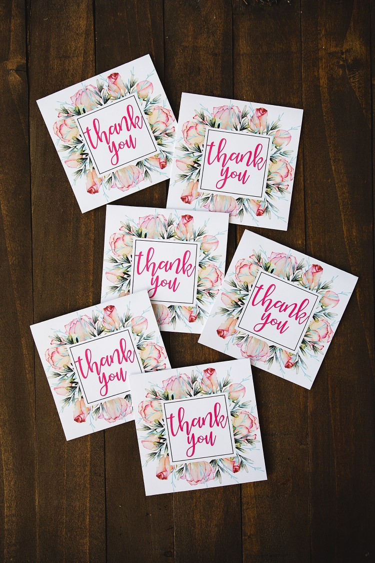 Floral Thank You Cards Printable Free | Thank You Card Printable Free | Free Printable Floral Thank You Cards | Download from the Six Clever Sisters blog!