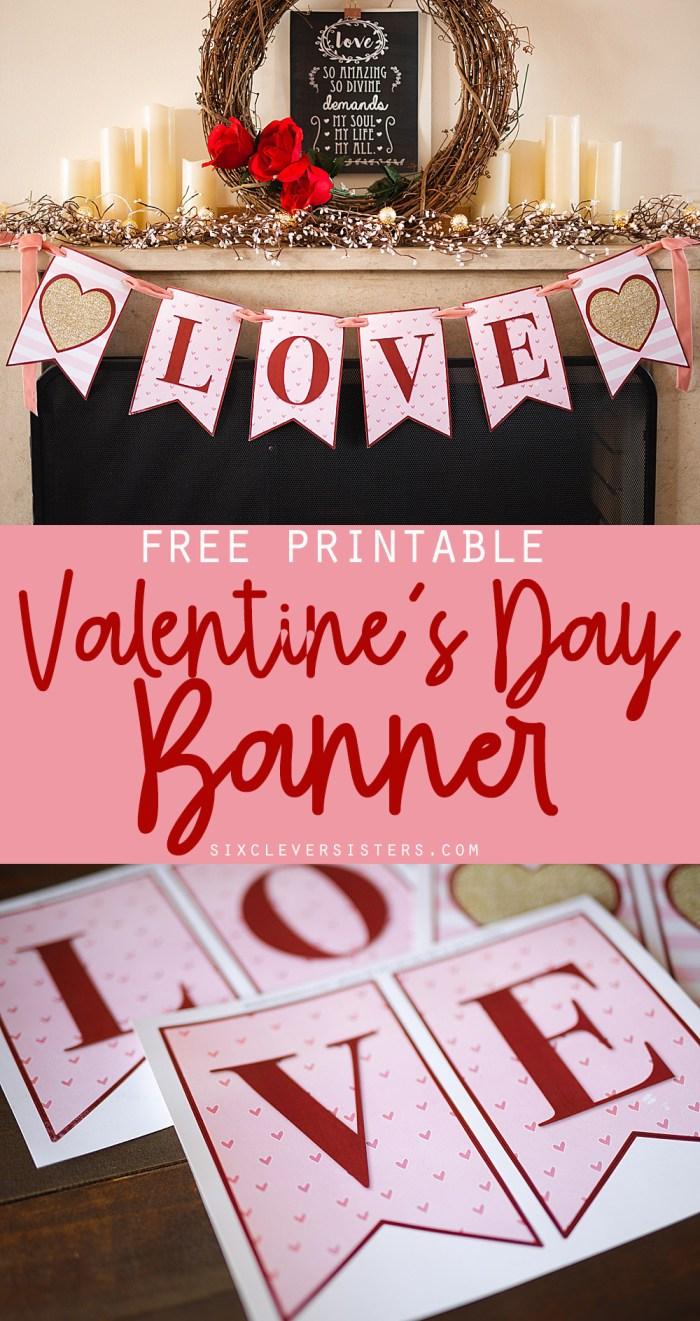 Valentines Day Banner | Valentines Day Decorations DIY | Valentines Day Banner Printable Free | Valentines Day Decor | Valentines Day Ideas