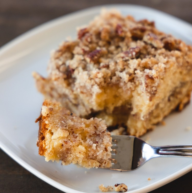 Maple Pecan Coffee Cake | Coffee Cake for a Crowd Brunch | Brunch Coffee Cake | Coffee Cake Recipes | Moist delicious coffee cake layered with lots of maple pecan streusel! Recipe on the Six Clever Sisters blog!