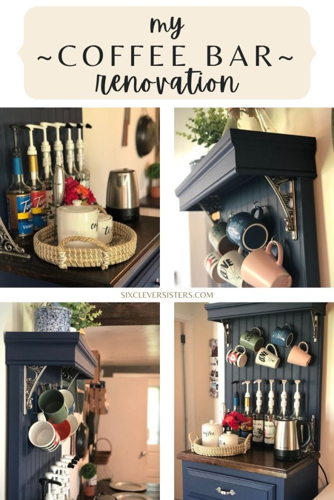 Coffee Bar | Furniture Renovation | DIY Coffee Bar | Coffee Bar Transformation | DIY Home Decor | DIY Beverage Bar | DIY Decor | Repurposed Furniture Project | Weekend Project | Check out my post on SixCleverSisters.com to find out how I transformed a small table into a beautiful coffee bar!