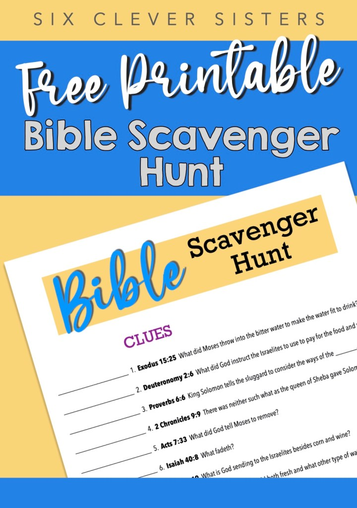 Free Printable | Youth Game | Youth Group | Church | Fellowship | Game | Scavenger Hunt | Bible Game | Bible Scavenger Hunt | King James | Scripture Game | Six Clever Sisters
