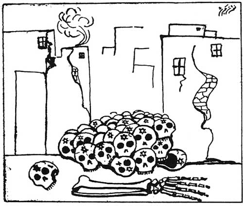 Syrian cartoon of Jewish skulls piled in the ruins of Tel Aviv
