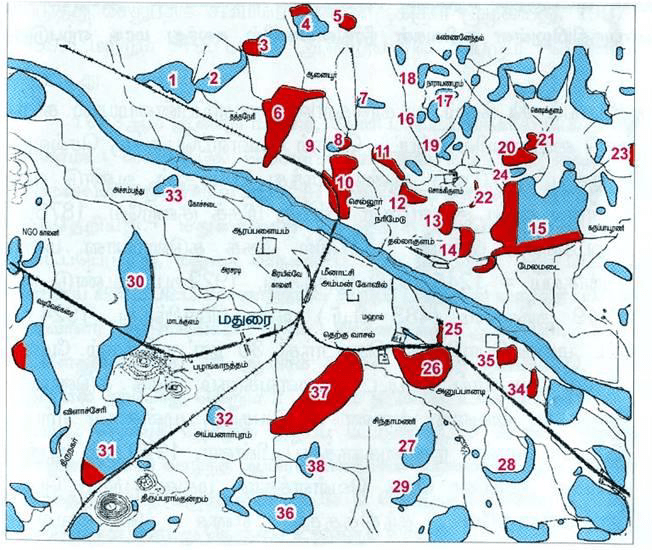 Various large water Tanks existing (blue) and reclaimed (red) in Madurai Urban region. Source: (Sivakumar and Kanagavalli, 2007)