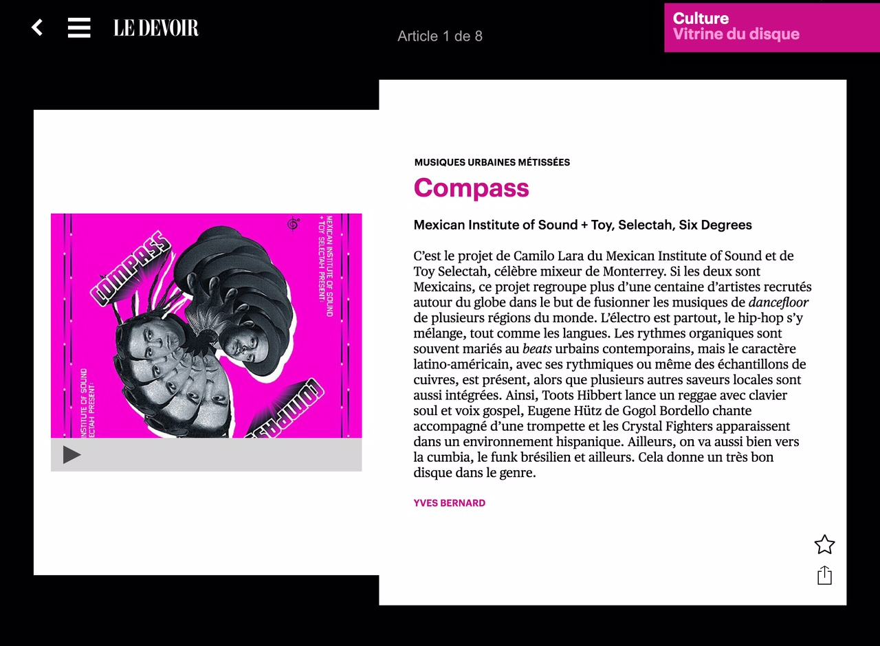Compass gets featured on renowned Canadian publication Le Devoir