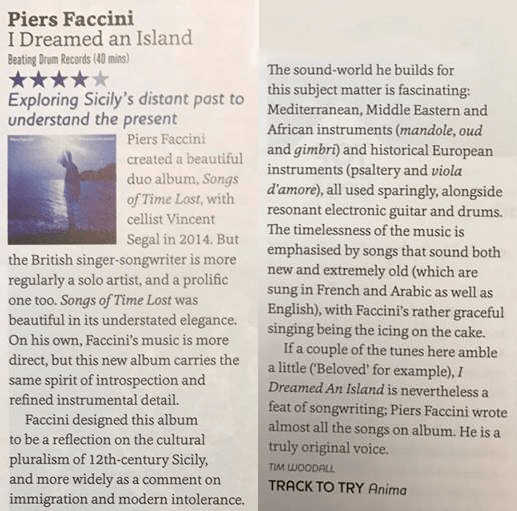 Piers Faccini's I Dreamed An Island Gets Reviewed by Songlines (UK)