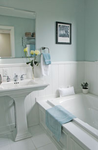 Master bathroom with colors chosen by Debra Gould