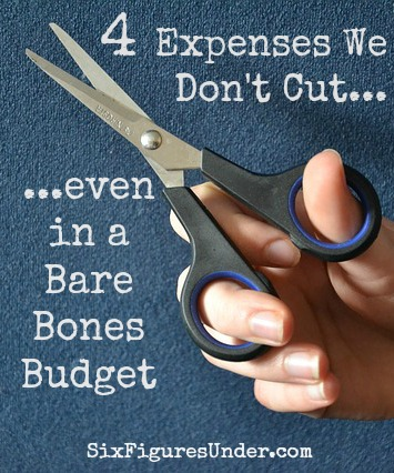 To put more money toward debt, we go without a lot of luxuries, but there are a couple of expenses that we won't cut out, even in a bare bones budget.