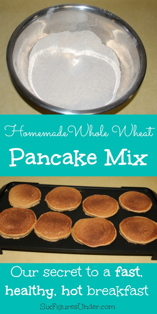 Homemade Pancake Mix makes it possible for us to have a hot and healthy breakfast even when we're in a hurry. This whole wheat pancake mix is way better than the boxed stuff!