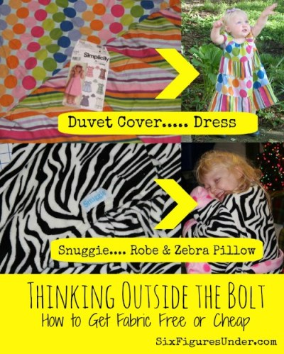 "Sewing and DIY projects can get expensive if you're shopping at the fabric store (even with a coupon). Here are some wonderful ideas to help you ""think outside the bolt"" and get fabric for free or cheap!"