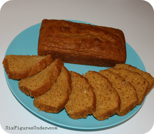 Pumpkin bread is the perfect breakfast for our family. The kids LOVE it because it's yummy and I love it because it doesn't have any oil or fat in it. It's perfect for school lunches and after-school snacks. There really isn't a bad time for this moist pumpkin treat.