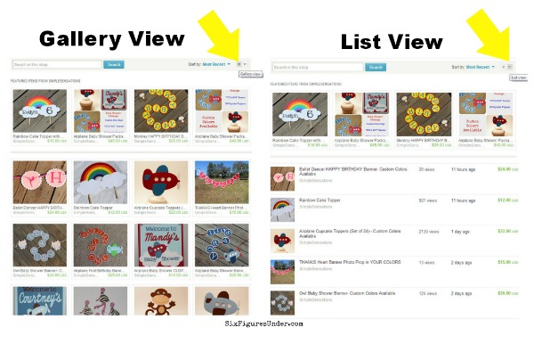 Gallery view vs List view on Etsy