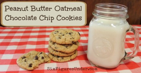 Peanut Butter Oatmeal Chocolate Chip Cookies fb
