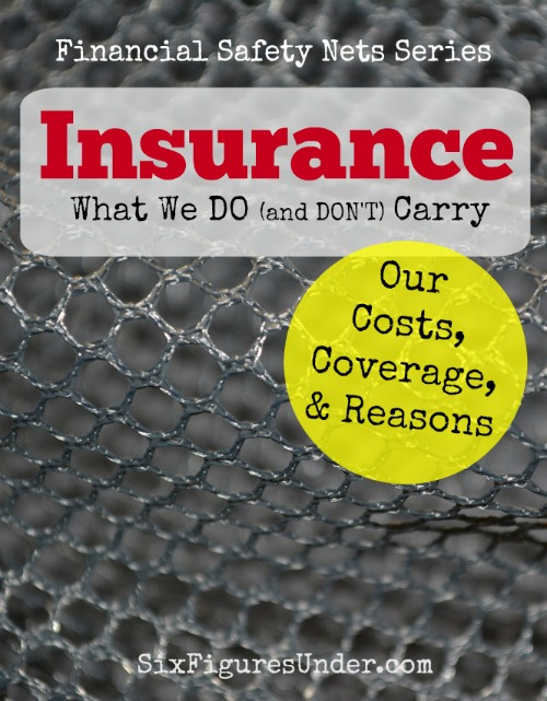 Without insurance, a disastrous event could wipe out everything. Here's a personal look at the insurance we do and don't carry, the premiums, the coverage, and the reasons for our choices.