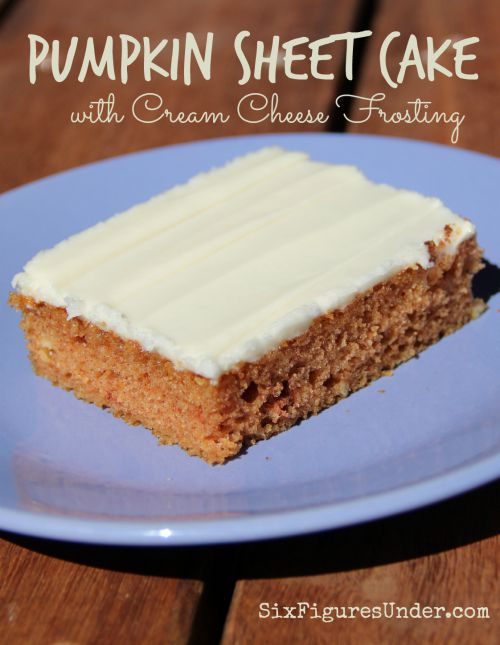 Pumpkin Sheet Cake with cream cheese frosting has the perfect cake to frosting ratio. It's moist and delicious and a definite crowd-pleaser. You can't go wrong bringing pumpkin sheet cake to your next gathering!