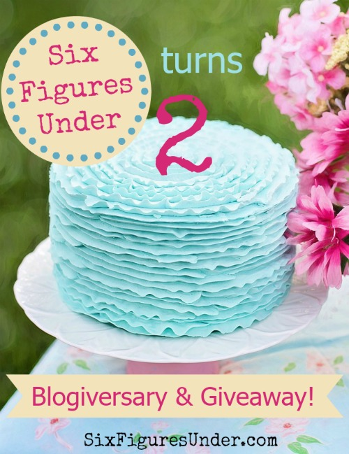 Six Figures Under Blogiversary-- Awesome giveaway!