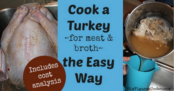 Cook a Turkey for meat and broth the easy way. Includes a cost analysis