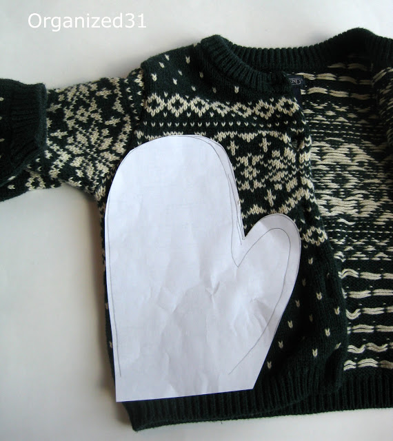 Mittens made from a sweater-- upcycled gift idea