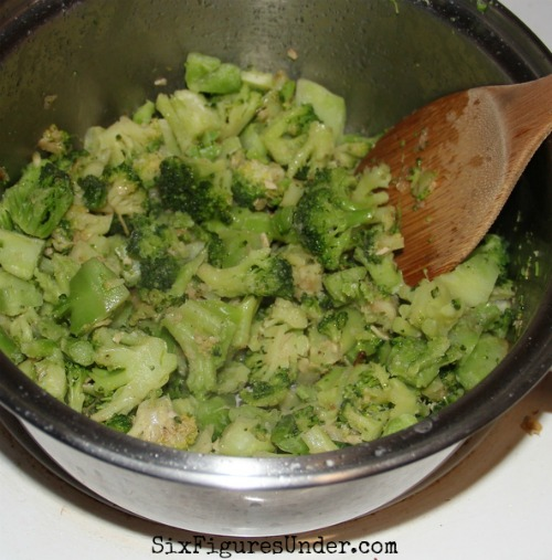 Soften the broccoli in butter before adding it to the quiche