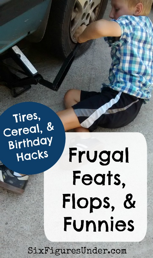 Change tires, make grape juice, eat cold cereal, and celebrate a birthday and an anniversary with our frugal family, then share your own frugal feats, flops and funnies!