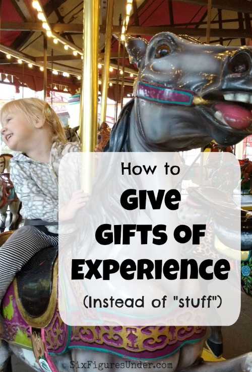 "Having trouble thinking of the perfect gift? Stop considering ""stuff"" and give an experience instead. Here are some great ideas for gifts of experience for all ages!"