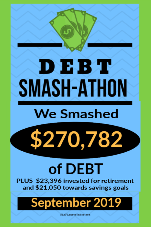 In 2019 we're having a Debt Smash-athon!  Everyone is invited to participate by reporting how much you paid in debt each month.  We're also keeping track of how much we invest for retirement and save for our big goals.