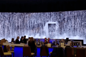 Digital LED Waterfalls At Casino Lounge Replicate Real Falls In Nearby Mountains