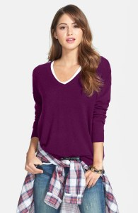 High Low cashmere v-neck tunic