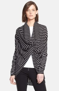 Stripe drape front wraparound sweater