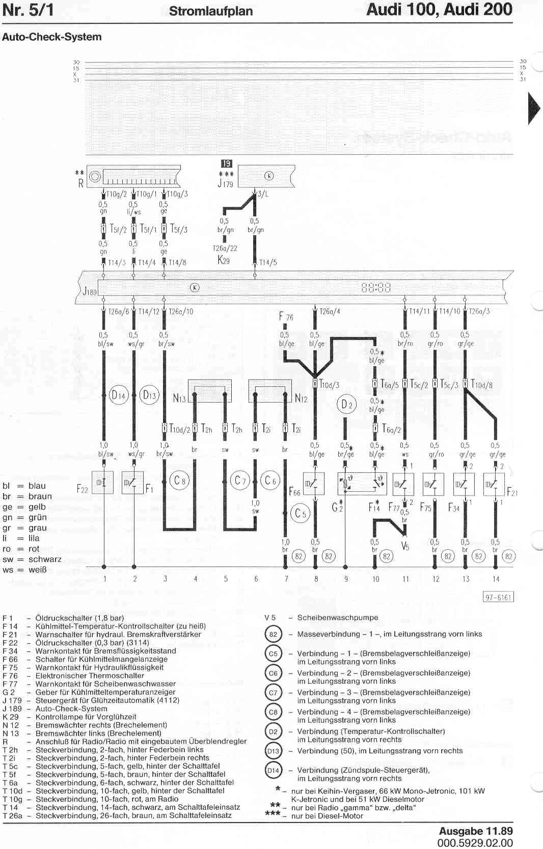 Audi 100 200 Factory Wiring Diagrams