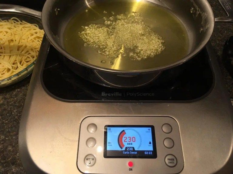 Sweating garlic on the Breville PolyScience Control Freak