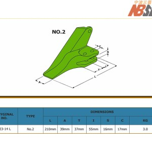 IMP123-14 Extreme LEFT tooth for KUBOTA mini excavators