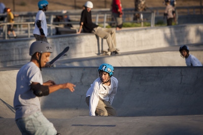 Clayton Parker, 14, center, of San Jose rides on his skateboard on Sept. 14, 2011 at Lake Cunningham Regional Skate Park in San Jose. Parker has been coming to the park since it opened three years ago. (Dai Sugano/Mercury News)