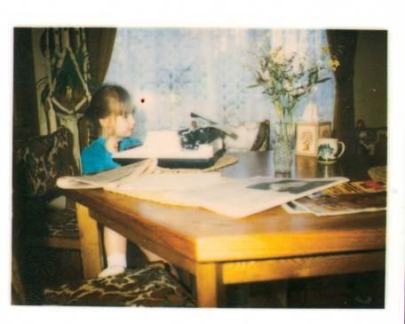 Me at my dad's typewriter