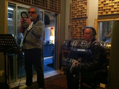 Scott McCaughey and Peter Buck recording with Saint John
