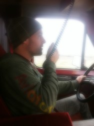 Saint John testing out the CB radio on the way up to Davis CA.