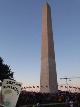 SJATR sticker at the Washington Monument (thanks, Adrianna!)