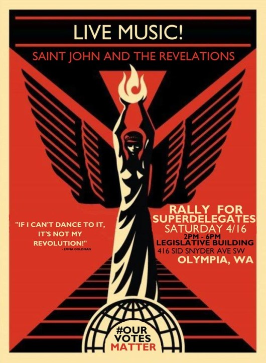 Saint John and the Revelations at Rally For Bernie Sanders Super Delegates In Olympia WA