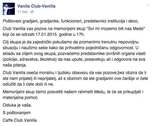 Vanilla klub poziv za Meda