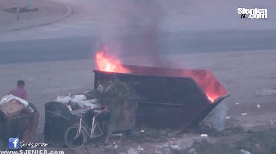 Nepoznati pale kontejnere u Sjenici / Sjenica / Novemabr 2015