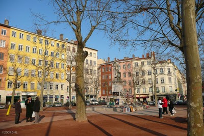 The main square or place in Croix-Rousse  early one Saturday morning.