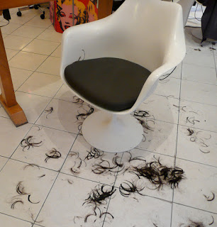 Freshly cut hair on the floor
