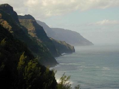 Na Pali coast from hiking trail.