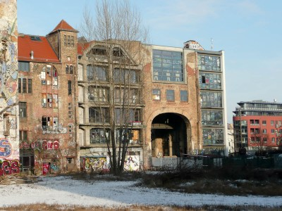 "This ""vacant"" building has been taken over by artists."