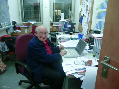 Once in Geneva, I was greeted by Henry; here he is in his office at CERN.
