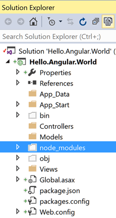 Visual Studio project with node_modules